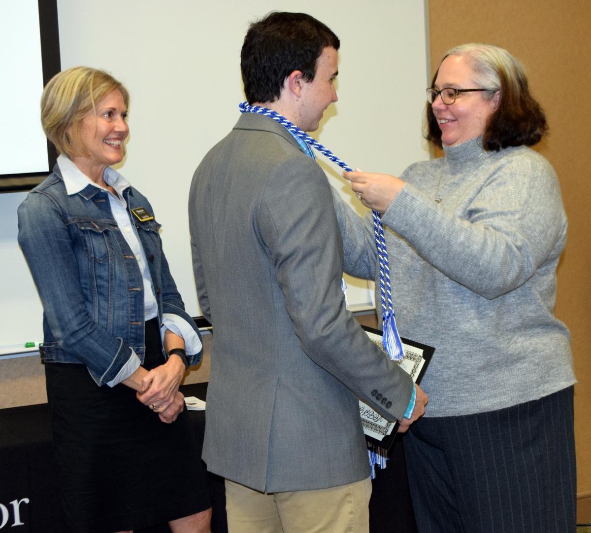 Robert Hinchcliffe and mom at honors ceremony