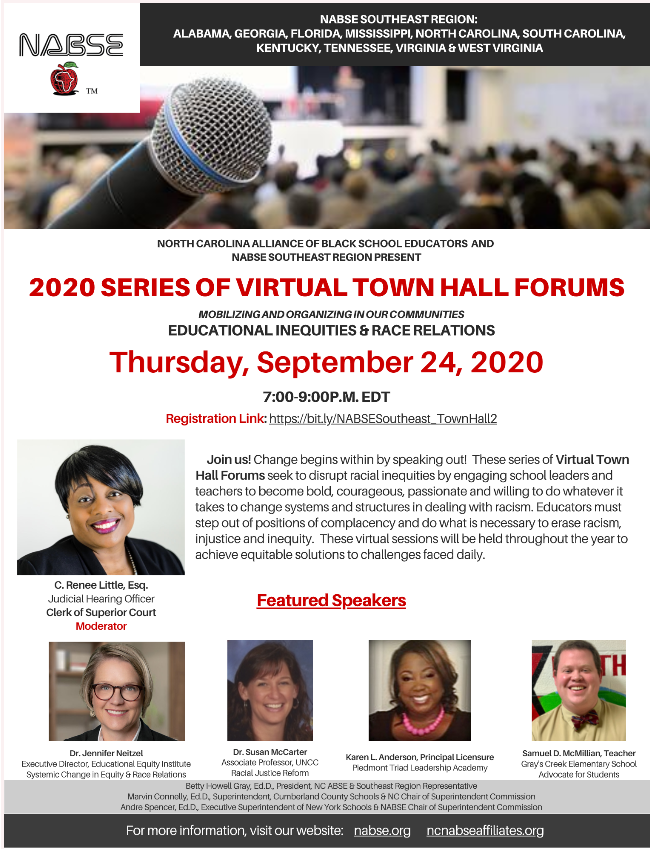 NABSE Southeast Region Series of Virtual Town Hall Forums poster