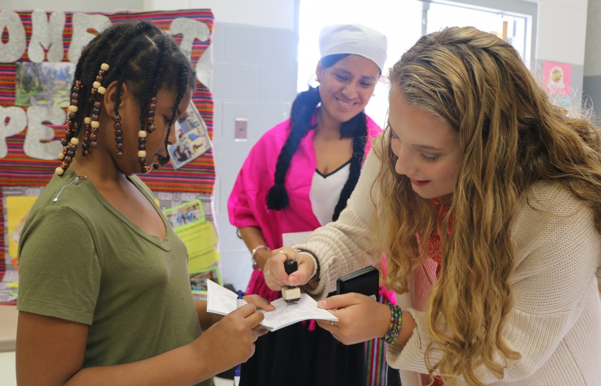 Students at learning event