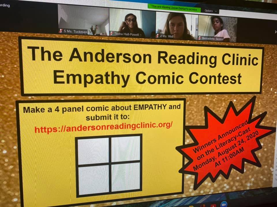 Literacy Cast screen - Empathy comic book contest
