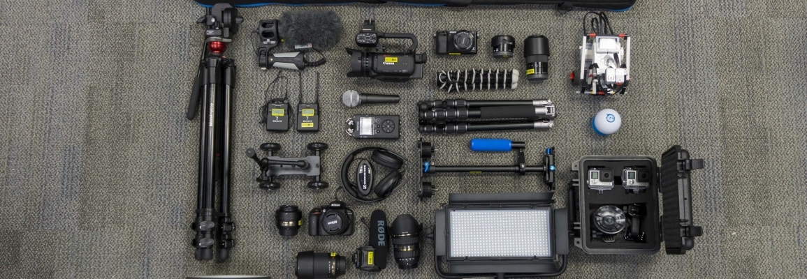 Photo of cameras and other equipment available for checkout