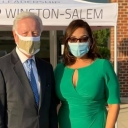 Academy Principal Tasha Hall-Powell pictured with Winston-Salem Mayor Allen Joines