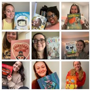 Boone Book Buddies hold up their books