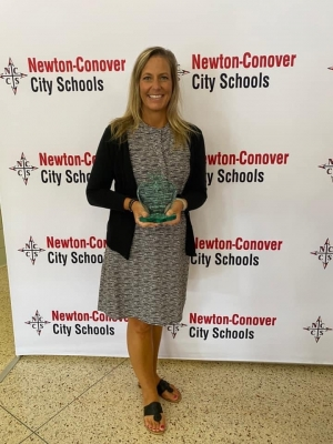 Carla May with award