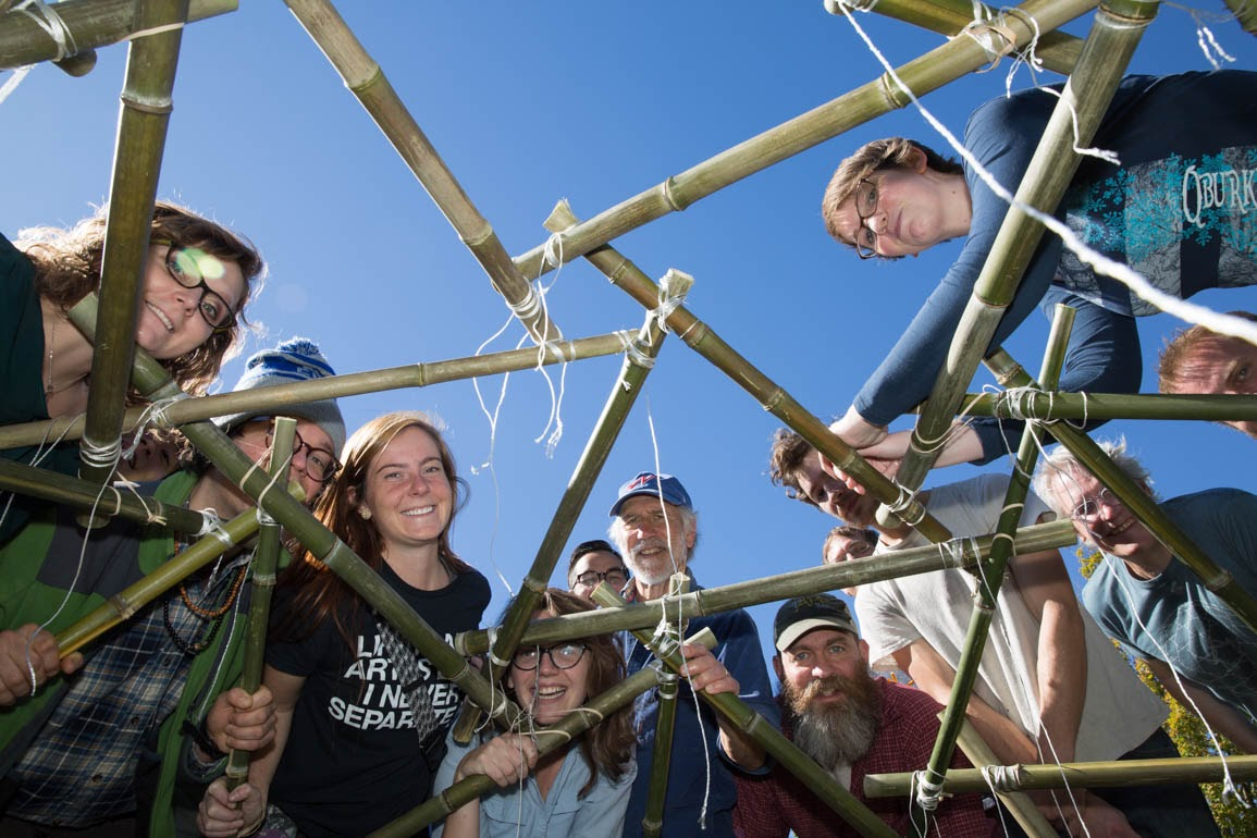 Students, faculty and staff participate in a geodesic dome building event at Appalachian.