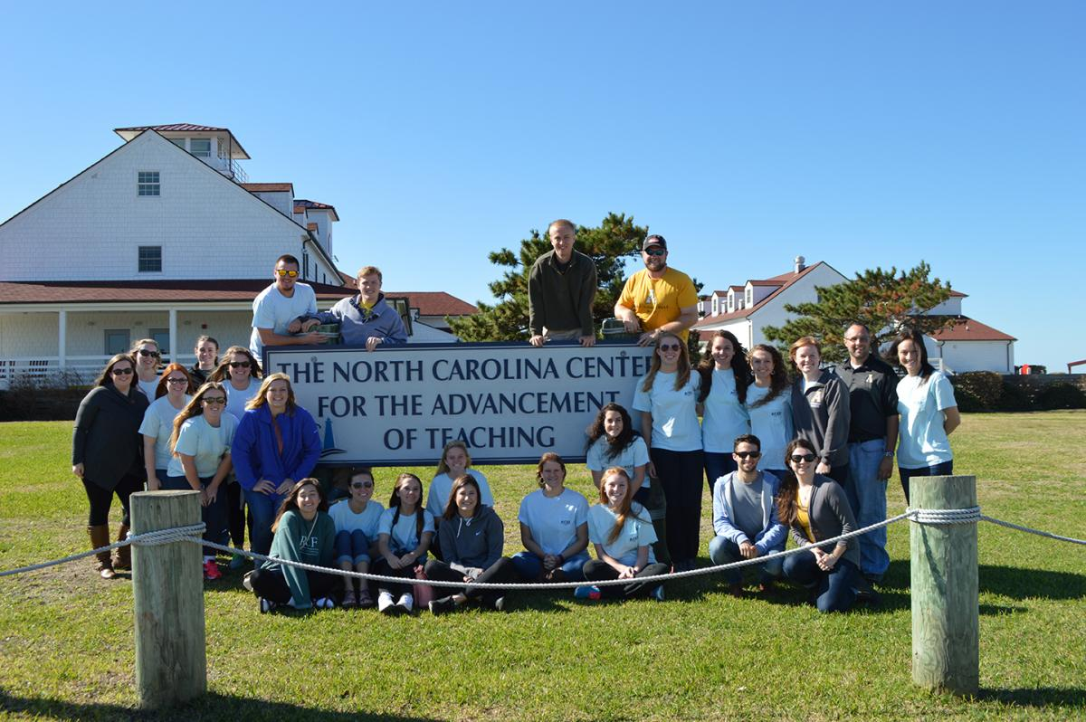 Caviness-Bliss with ACES students and Brian Bettis at NCCAT on Ocracoke Island