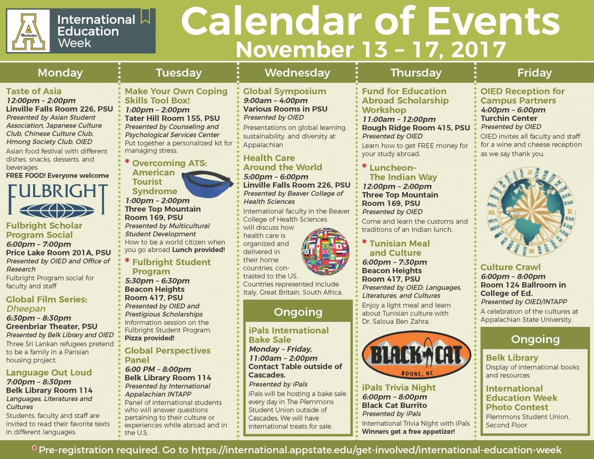 International Education Week calendar of events