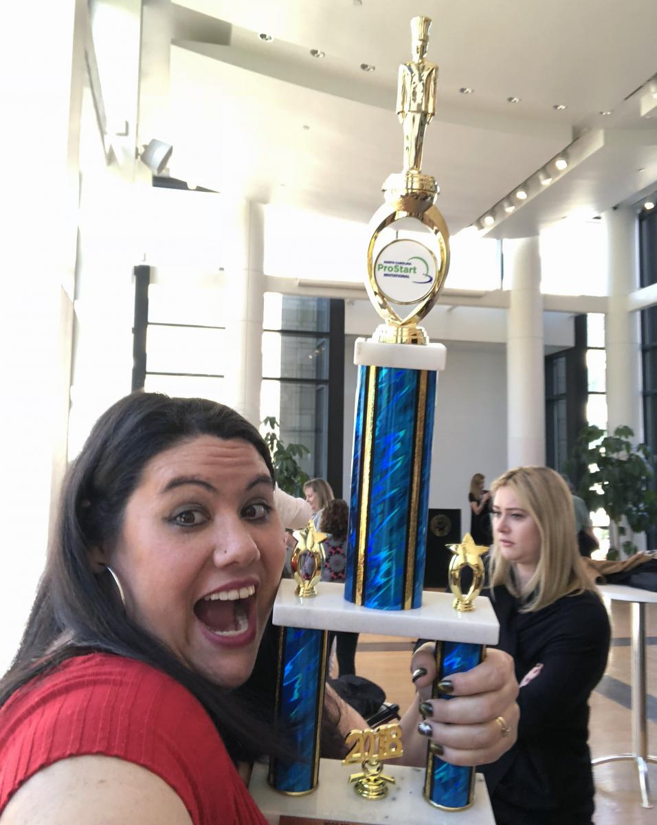 Amy holding her 1st place NC ProStart trophy. Photo submitted
