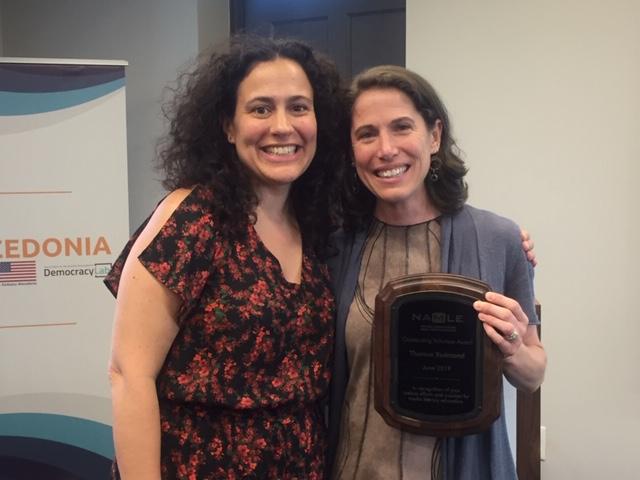 NAMLE Executive Director, Michelle Ciulla Lipkin, presents the Outstanding Volunteer Award.