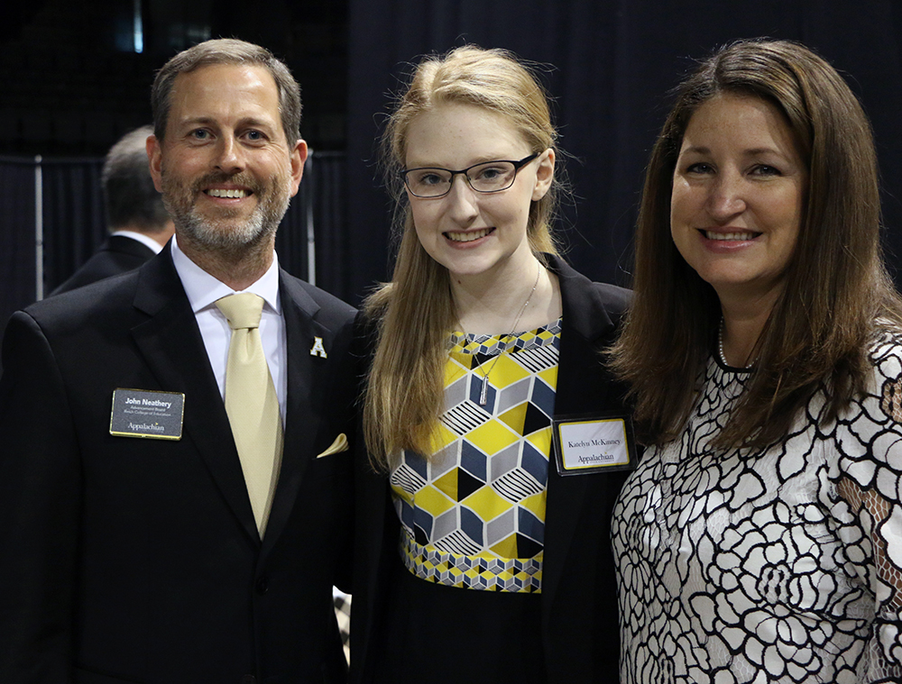 RCOE Advancement Board Chair and alum, John Neathery, and his wife, April, meet their scholarship recipient, Katelyn McKinney.