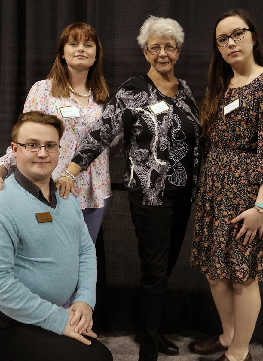 Barbara Daye and the recipients of the Watkins-Daye Scholarship, (L-R) Chris Yerton, Hayley McCulloch, and Mary McVay have fun with the photo shoot!