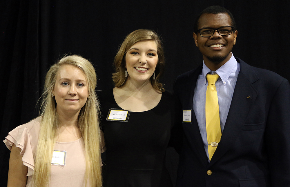 Student speakers, (L-R) Hollie Dinely, Amanda Stilwell, and Brandon Moore. They shared the impact of being scholarship recipients.