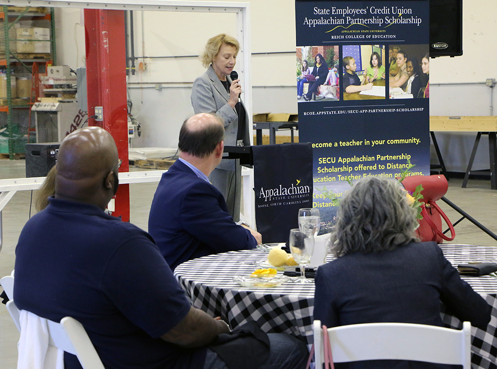 Chancellor Everts highlights the importance of the partnership between NC SECU and Appalachian State University as well as the opportunities scholarships allow for students to continue their education.