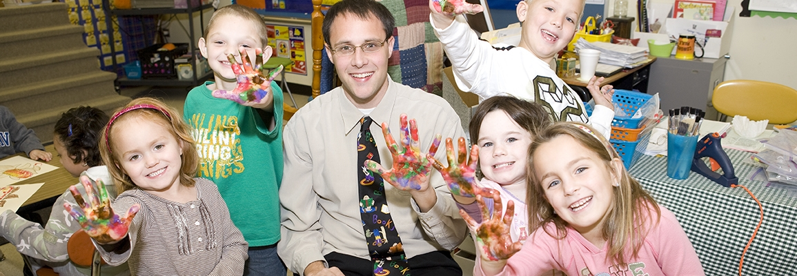 fingerpainting with children