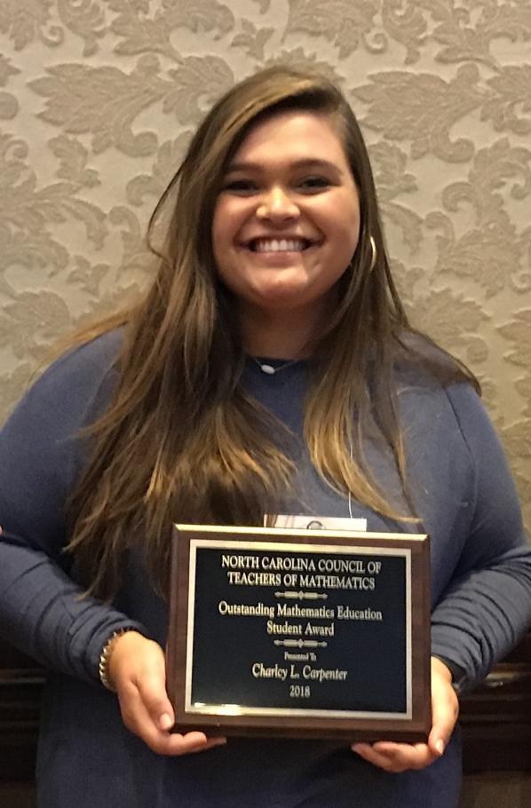 Charlcy Carpenter Named Recipient of the North Carolina Council of Teachers of Mathematics Western Region Outstanding Mathematics Education Student Award