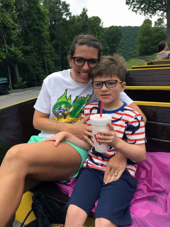 Kelly Johnson '02 with her son, Charlie, at Twetsie. Photo submitted