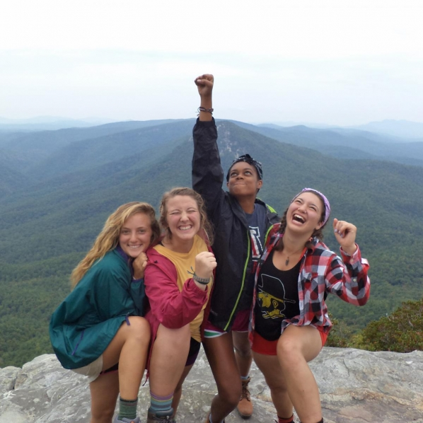 The inaugural Wilson Scholars, as new students, atop Table Rock in the Pisgah National Forest. The steep hike, according to Sarah Aldridge, second from left, became a metaphor for overcoming obstacles on the path to academic success. Photo submitted