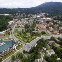 An aerial view of Appalachian State University's campus in the Blue Ridge Mountains. Photo by Marie Freeman