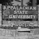 This photo displays the sign that greeted faculty, staff, students and visitors to Appalachian State University's campus in 1968. The sign, which was erected in 1967, was located at the main entrance of campus, off Blowing Rock Road (U.S. 321).