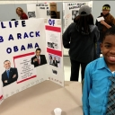 Rayjon Davis acts as President Barack Obama in the Academy at Middle Fork's Living Wax Museum.