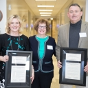 Dr. Star Brown, far left, and Dr. John Robinson, far right, the joint recipients of the 2017-18 Alice Pheobe Naylor Outstanding Dissertation Award, pose with Dr. Alice Naylor, for whom the award is named. Photo by Chase Reynolds