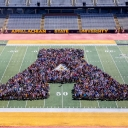 "Appalachian students gather with Chancellor Sheri N. Everts to form the traditional ""Block A"""