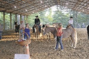 Jill Van Horne and Beth Allen work with horses