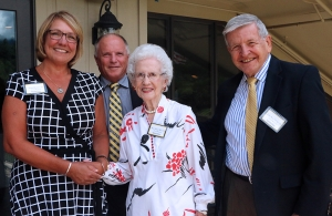 """Appalachian State University alumni Diana Beasley '11, Daron """"Chip"""" Buckwell '82, '83, Mary Hazel Farthing Mast '80 and John Bost '70, '85, '89 were inducted into the Rhododendron Society on June 22."""