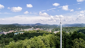 A view of Appalachian's campus from the university's wind turbine, which is located at 755 Bodenheimer Drive — the highest point on Appalachian's campus. Photo by Marie Freeman