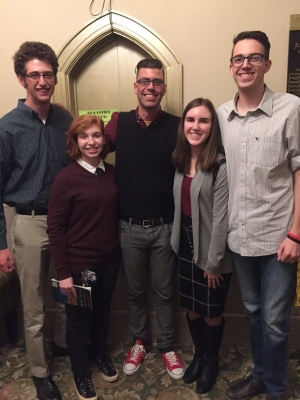 The founding team (left to right: Walker Ballard (music education), Logan Land (secondary education - English), Matthew Thomas-Reid (faculty advisor), Shannon Furr (secondary education - history), Michael Jeffries (special education)